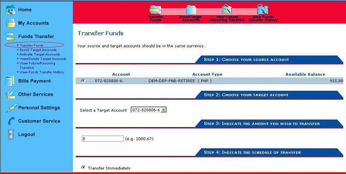 PNB Transfer Money Funds Procedures