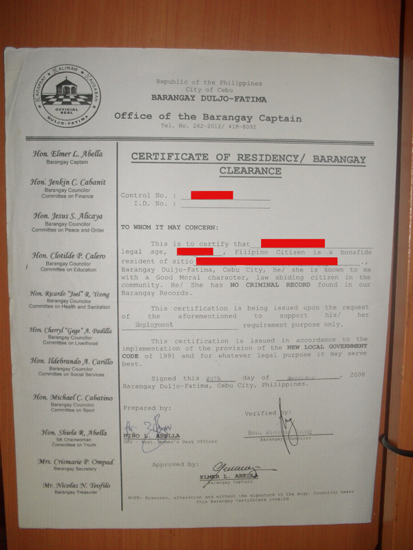 How To Get Barangay Clearance Certificate In The Philippines