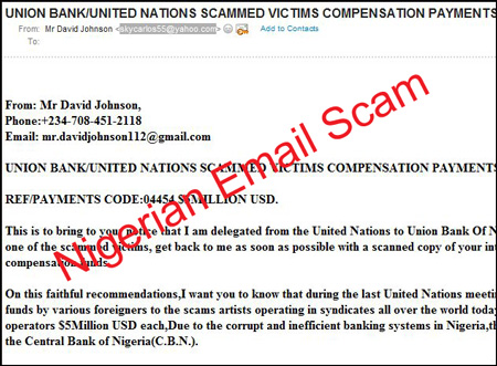 Nigerian email scam from David Johnson