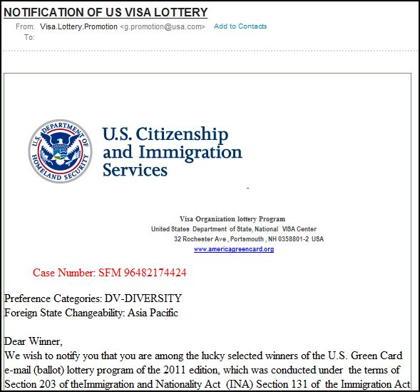 USCIS (US Citizenship And Immigration Services) Email Scam