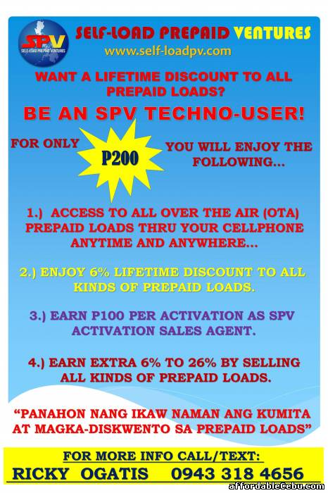 1st picture of LIFETIME DISCOUNT ON ALL TYPES OF PREPAID LOAD Offer in Cebu, Philippines