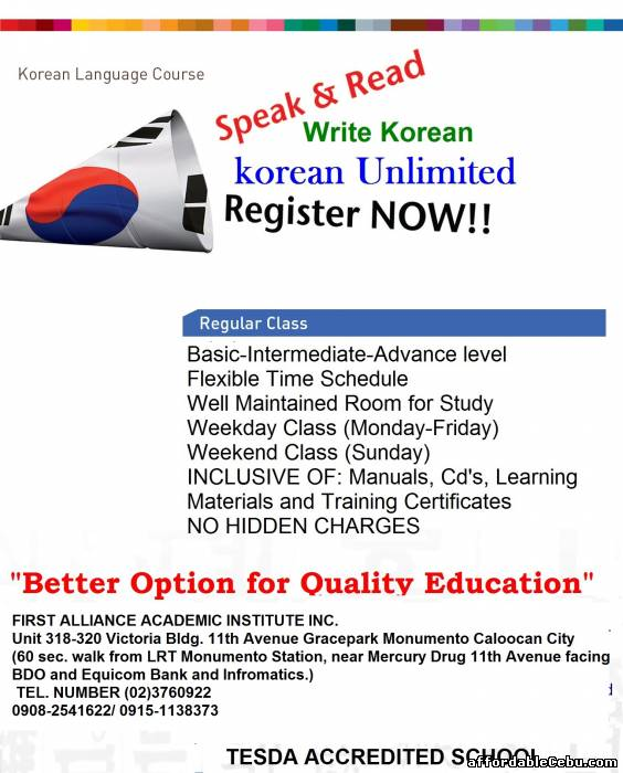 1st picture of Study Korean Language Offer in Cebu, Philippines