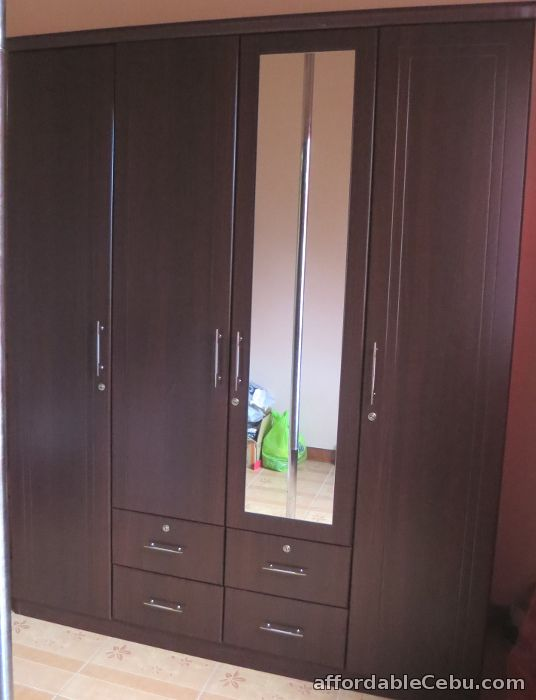Wardrobe Cabinet Four Doors Drawers And Mirror For Sale