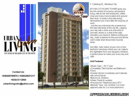 5th picture of MyVan Cityscapes Tower @ Panagdait, Mandaue City For Sale in Cebu, Philippines