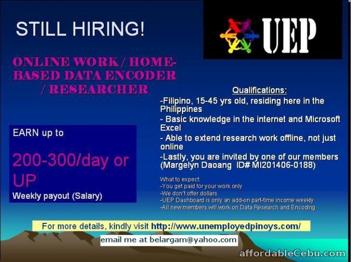 1st picture of Online Work for Data Encoder / Researcher Offer in Cebu, Philippines