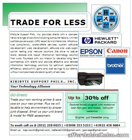 1st picture of Trade Your Old Printer for Less For Sale or Swap in Cebu, Philippines
