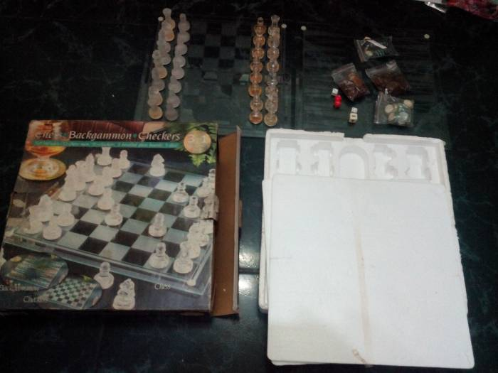 1st picture of Glass Chess Backgammon and Checkers 3 in 1 board set For Sale in Cebu, Philippines