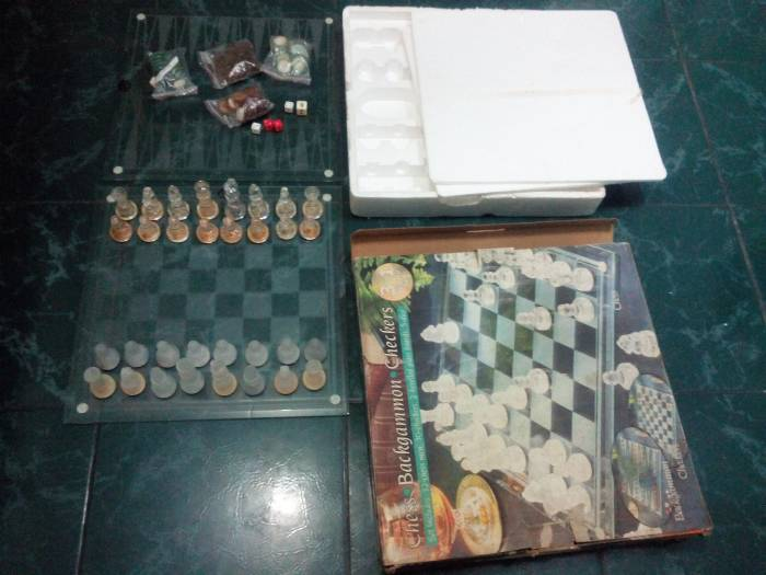 5th picture of Glass Chess Backgammon and Checkers 3 in 1 board set For Sale in Cebu, Philippines