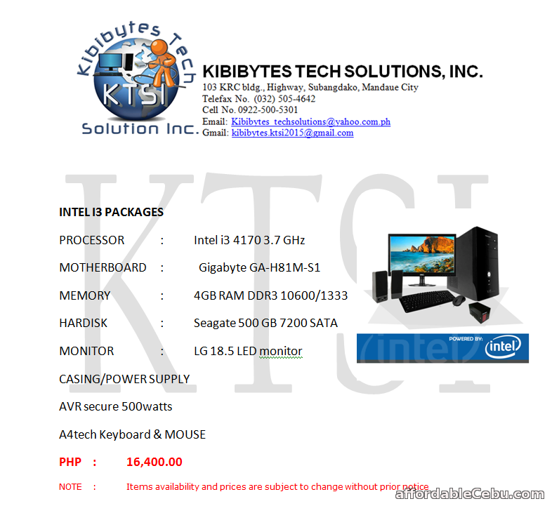 1st picture of For Sale  Intel i3 Packages For Sale in Cebu, Philippines