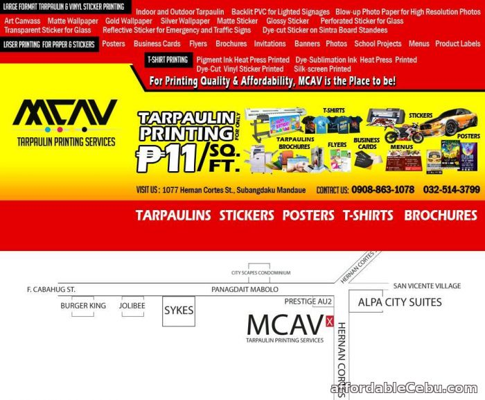 1st picture of MCAV Affordable & Quality Printing Services! Advertising, Stickers, Tarpaulin P9/ sq. ft, Car decals & More For Sale in Cebu, Philippines