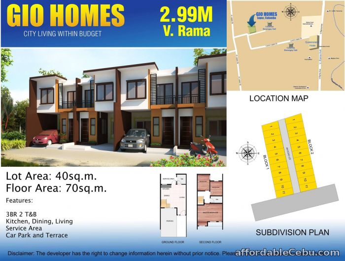 1st picture of Gio Homes Townhouses - 2.99M at V. Rama, Cebu City For Sale in Cebu, Philippines