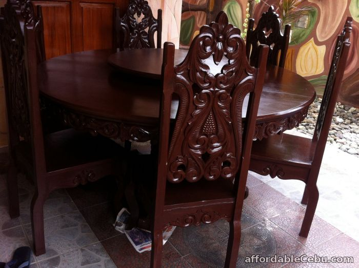 2nd picture of dinning round table six seater tugas wood For Sale in Cebu, Philippines