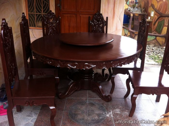 3rd picture of dinning round table six seater tugas wood For Sale in Cebu, Philippines