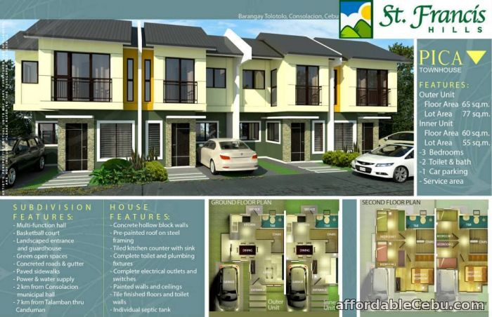 1st picture of PICA TOWNHOUSE - St. Francis Hills - as low as 10,318/month For Sale in Cebu, Philippines