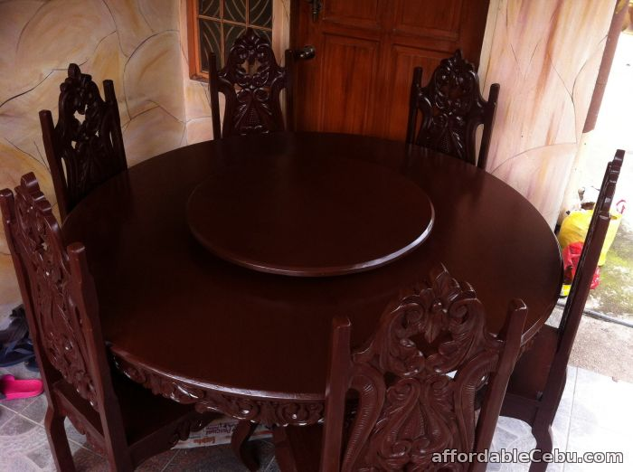 1st picture of dinning round table six seater tugas wood For Sale in Cebu, Philippines