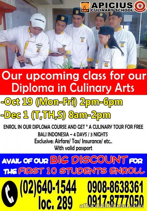 1st picture of Apicius Culinary Arts - Pasig offers Diploma in Culinary Arts with a free culinary tour in Bali, Indonesia Announcement in Cebu, Philippines