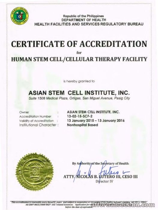 1st picture of FDA: Only 3 Hospitals OK for Stem Cell Therapy one of them is the Asian Stem Cell Institute Announcement in Cebu, Philippines