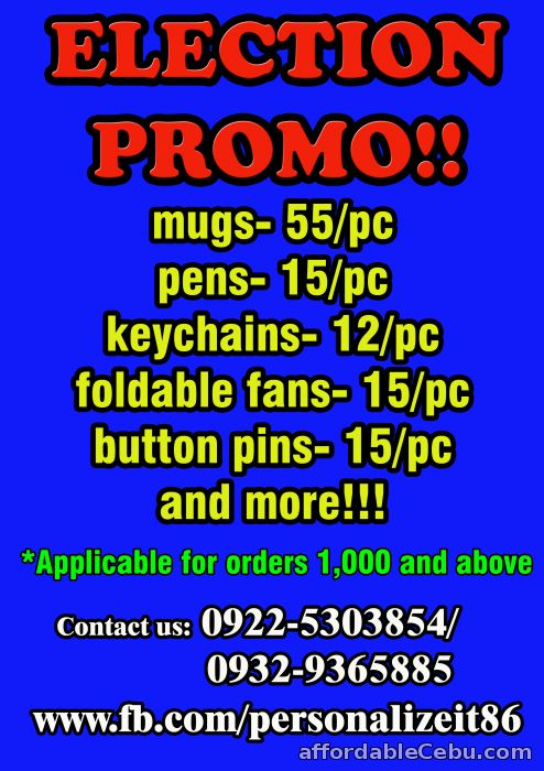 1st picture of Personalized mugs, pens, fans, tumblers, button pins and more For Sale in Cebu, Philippines
