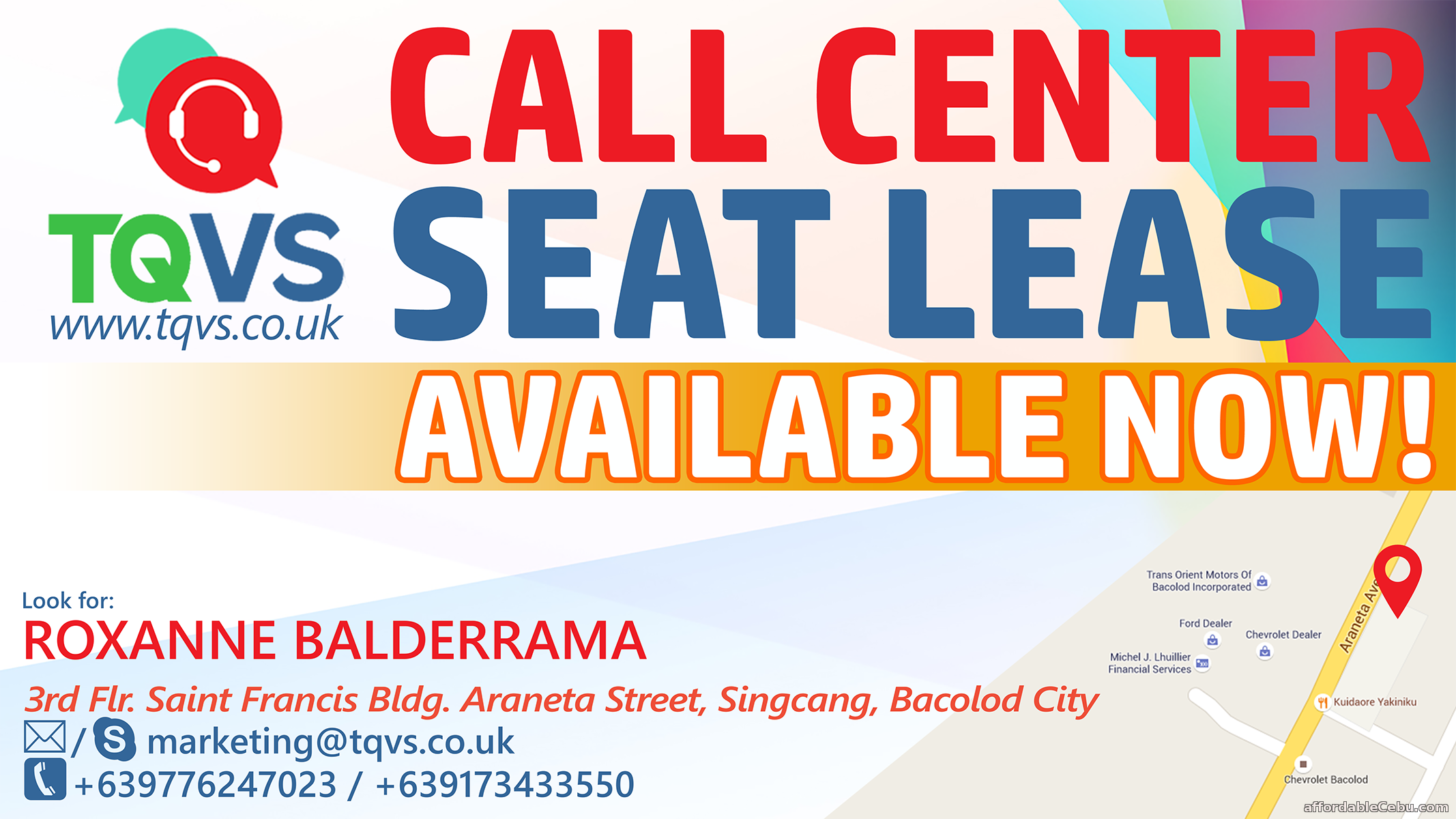 3rd picture of REDUCE YOUR COST! LEASE YOUR SEATS TODAY WITH TQVS! For Rent in Cebu, Philippines
