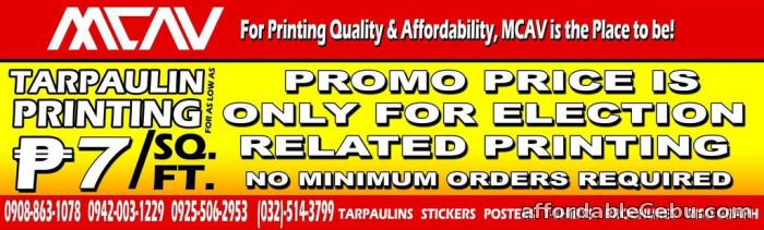 1st picture of MCAV Affordable & Quality Printing Services! Election Promo! P7/ sq ft. for election printing purposes only!No exception For Sale in Cebu, Philippines