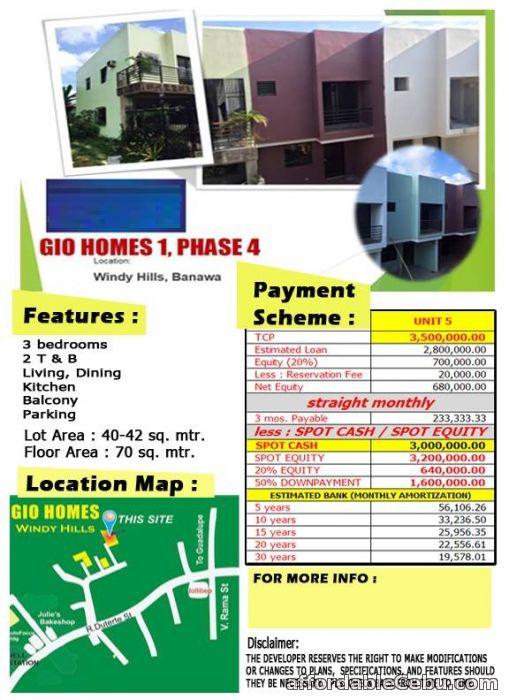 1st picture of House for sale at Gio Homes Banawa Windy Hills For Sale in Cebu, Philippines