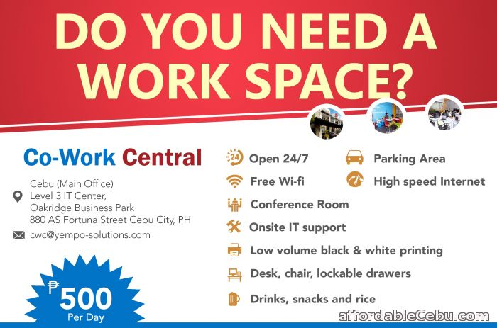 1st picture of Fantastic office space available - no long term contracts - From P500 per day! For Rent in Cebu, Philippines