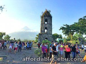 1st picture of Cagsawa Ruins is symbolic of close to danger, Mayon Volcano tour Offer in Cebu, Philippines