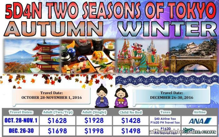 1st picture of 5D4N Two Seasons of Tokyo Autumn Winter Offer in Cebu, Philippines