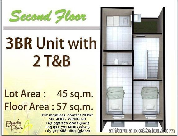 4th picture of BEVERLY PLACE MACTAN Php 11,642 Monthly 3BR, 2CR Agus, Lapu-lapu City, Cebu For Sale in Cebu, Philippines