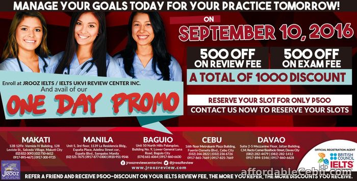 1st picture of JROOZ IELTS One Day Promo – September 10, 2016 Offer in Cebu, Philippines
