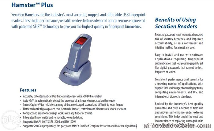 4th picture of SecuGen Hamster Plus (Biometrics or Fingerprint Scanner) For Sale in Cebu, Philippines