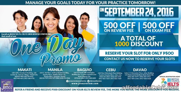 1st picture of JROOZ IELTS One Day Promo – September 24, 2016 (Cebu) Announcement in Cebu, Philippines