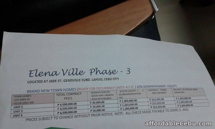 4th picture of Elena Ville Phase-3 R.F.O Units Lahug Cebu City For Sale in Cebu, Philippines