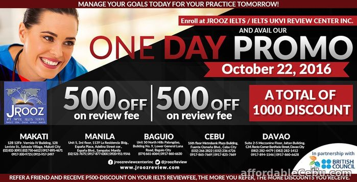 1st picture of JROOZ IELTS One Day Promo – October 22, 2016 (Cebu) Announcement in Cebu, Philippines