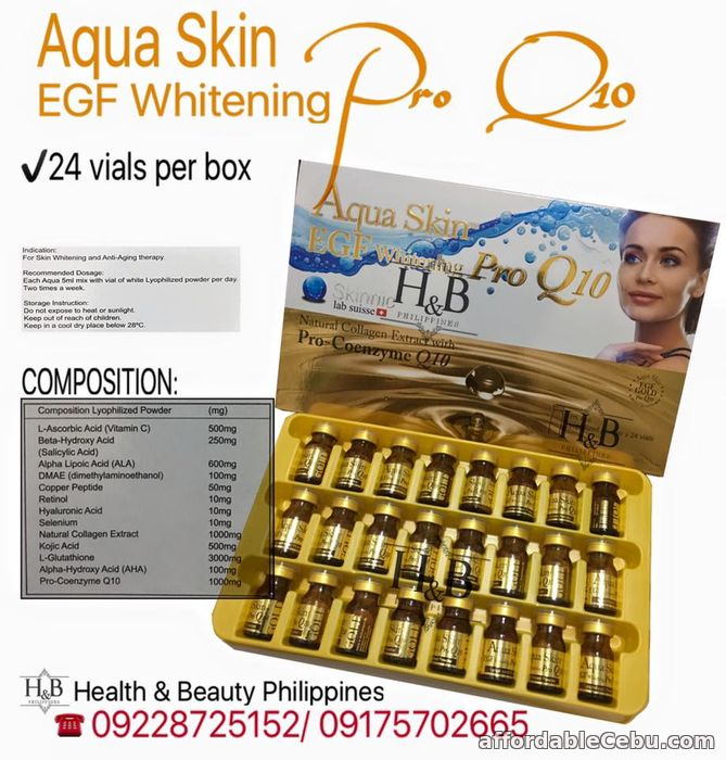 1st picture of Cheapest Aqua Skin EGF Whitening Pro Q10 in cebu city For Sale in Cebu, Philippines