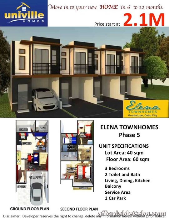 1st picture of Affordable House for sale at Elena Townhomes in Guadalupe, Cebu City For Sale in Cebu, Philippines