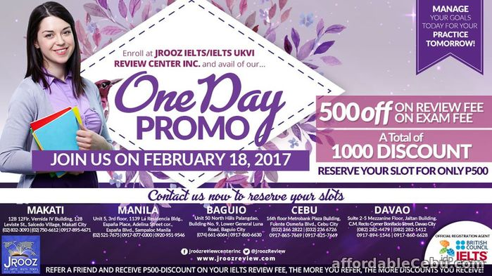 1st picture of JROOZ IELTS One Day Promo – February 18, 2017 Announcement in Cebu, Philippines