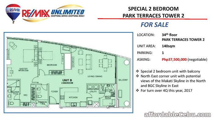 1st picture of FOR SALE SPECIAL 2 BEDROOM UNIT PARK TERRACES PHASE 1 TOWER 2 For Sale in Cebu, Philippines