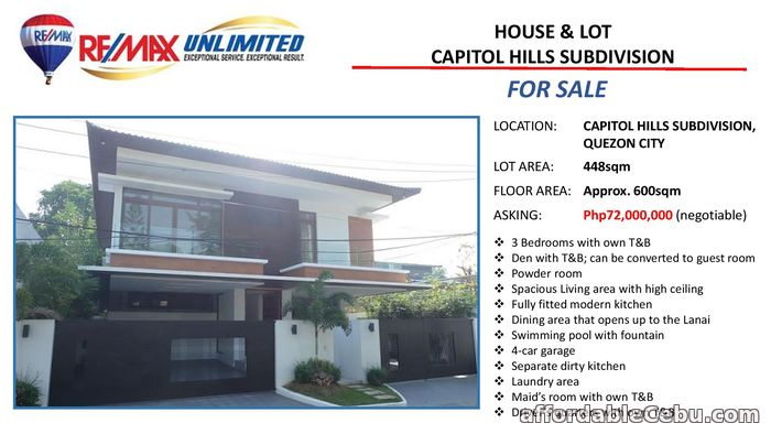 1st picture of FOR SALE HOUSE AND LOT IN CAPITOL Hills SUBDIVISION For Sale in Cebu, Philippines