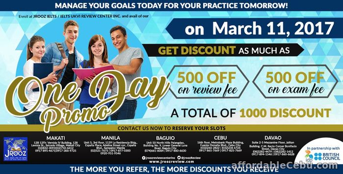 1st picture of JROOZ IELTS / IELTS UKVI One Day Promo – March 11, 2017 Offer in Cebu, Philippines