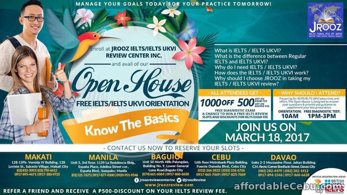 1st picture of JROOZ IELTS / IELTS UKVI Open House – March 18, 2017 Announcement in Cebu, Philippines