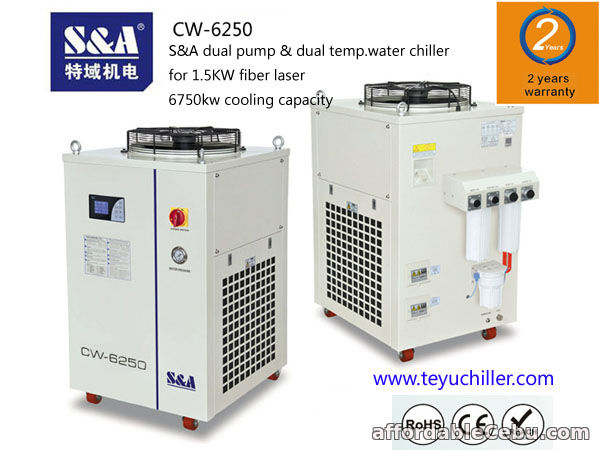 1st picture of S&A dual temp. chiller CW-6250 is used for laser IPG 1500w For Sale in Cebu, Philippines