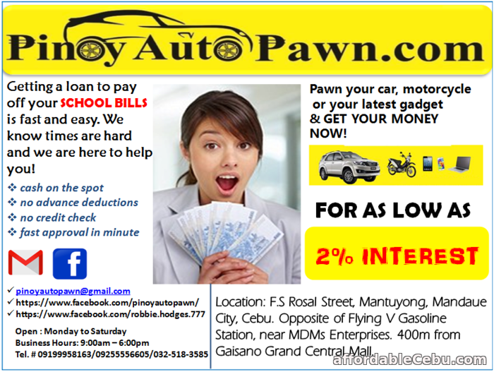 1st picture of NEED CASH? WE ARE HERE TO HELP YOU! FOR AS LOW AS 2% INTEREST Offer in Cebu, Philippines