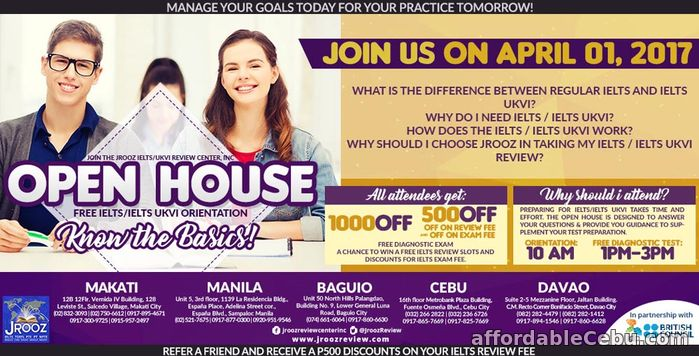 1st picture of JROOZ IELTS / IELTS UKVI OPEN HOUSE PROMO – April 01, 2017 Announcement in Cebu, Philippines