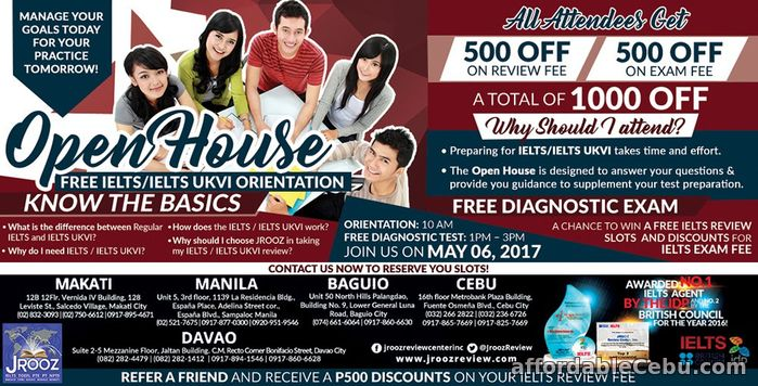 1st picture of JROOZ IELTS / IELTS UKVI OPEN HOUSE – May 6, 2017 Announcement in Cebu, Philippines