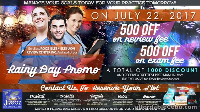 1st picture of JROOZ IELTS Rainy Day Promo – July 22,2017 Offer in Cebu, Philippines