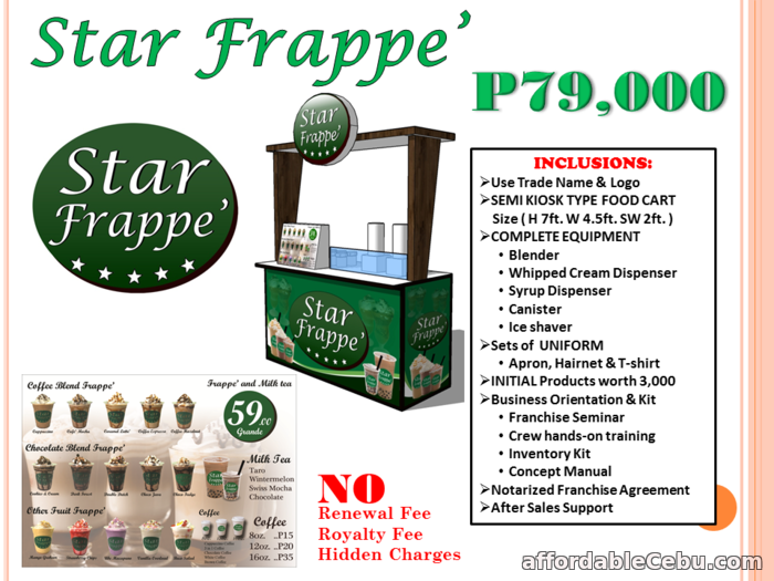 1st picture of Star Frappe Food Cart Franchise Philippines Offer in Cebu, Philippines