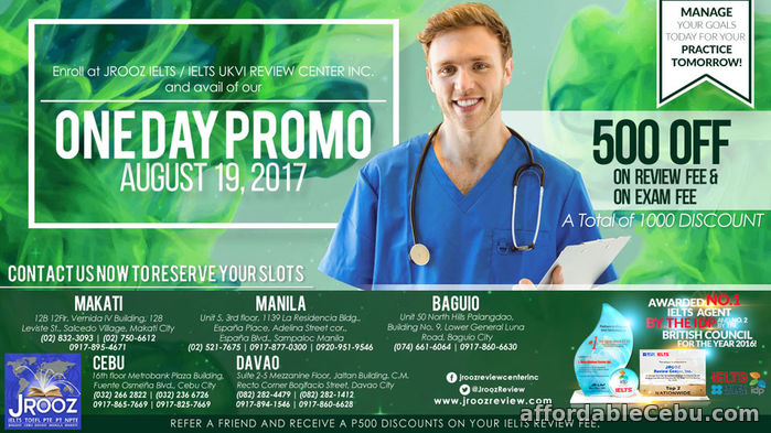 1st picture of JROOZ IELTS One Day Promo – August 19, 2017 Offer in Cebu, Philippines