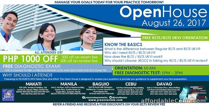 1st picture of JROOZ IELTS / IELTS UKVI OPEN HOUSE – August 26, 2017 Offer in Cebu, Philippines