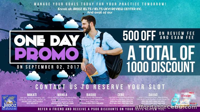 1st picture of JROOZ IELTS One Day Promo – September 2, 2017 Offer in Cebu, Philippines